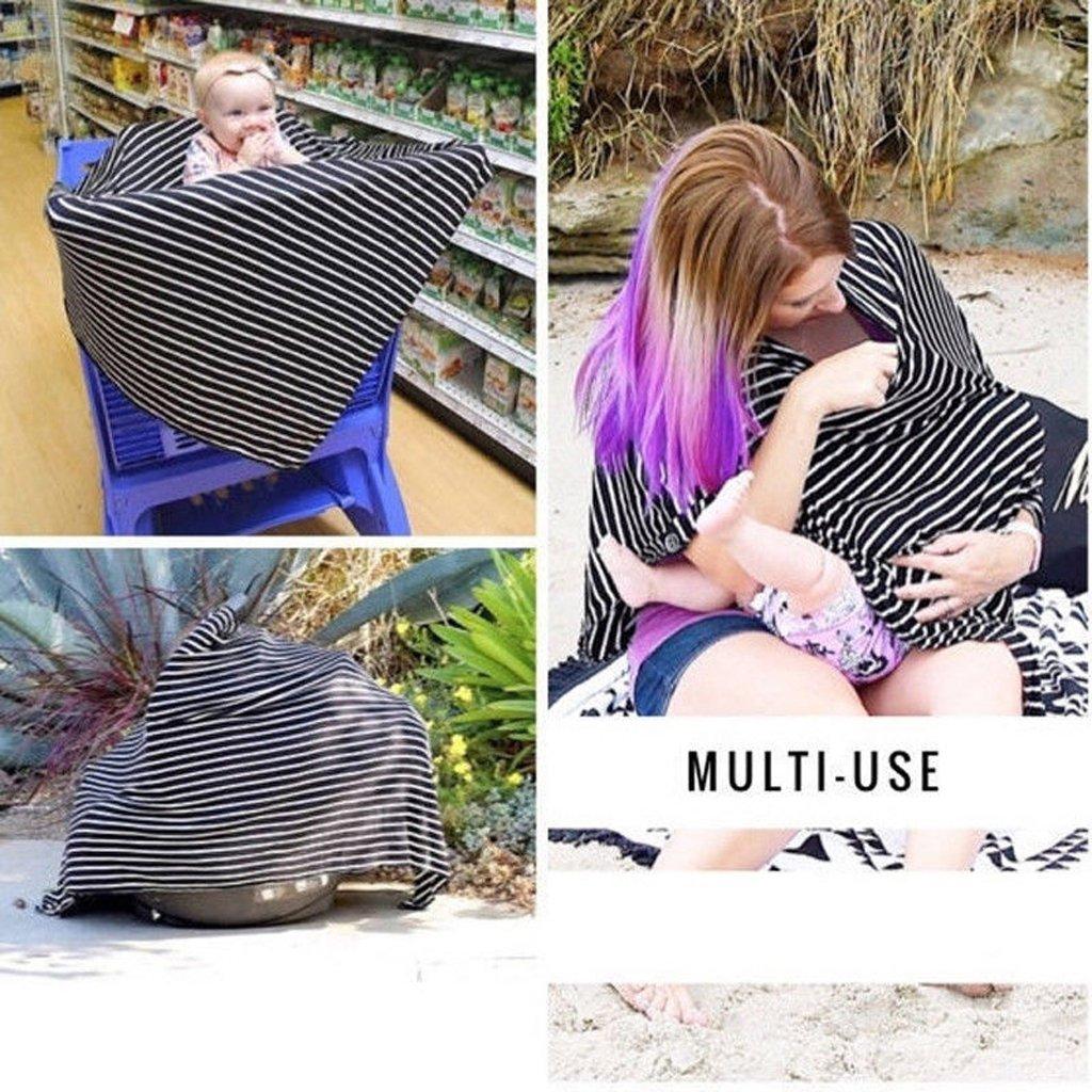 Nursing Breastfeeding Cover Scarf Baby Car Seat Canopy Diagonal Stripe Shawl