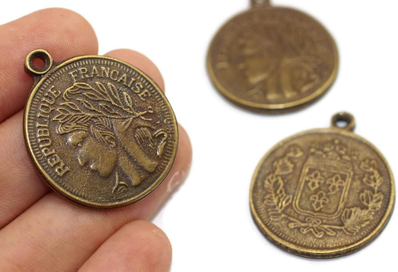 Roman Pendants Bronze Coin Charms Double Side Charms Medallion Pendant 29x35mm Antique Bronze Replica Coin Pendant Vintage French Coins Coins Gold Pendant Bronze Coins