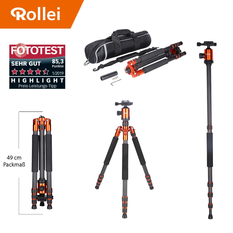 Rollei Allrounder Trípode de Carbono en Color Naranja con rótula de Bola - Compatible con cámaras
