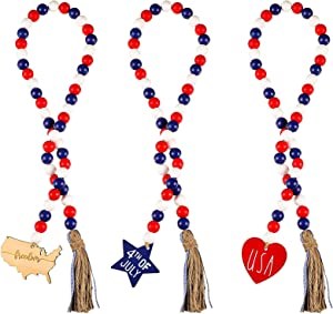 Qunclay 3 Pieces 4th of July Wood Bead Garland with Tassels and Map Heart Star Tag Independence Day Farmhouse Beaded Garland Patriotic American Prayer Boho Bead for Rustic Country Decor Wall Hanging