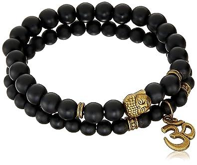 07590d6474b16d Young & Forever Black D'Vine Set Of 2 Yoga & Meditation Om Charm Buddha