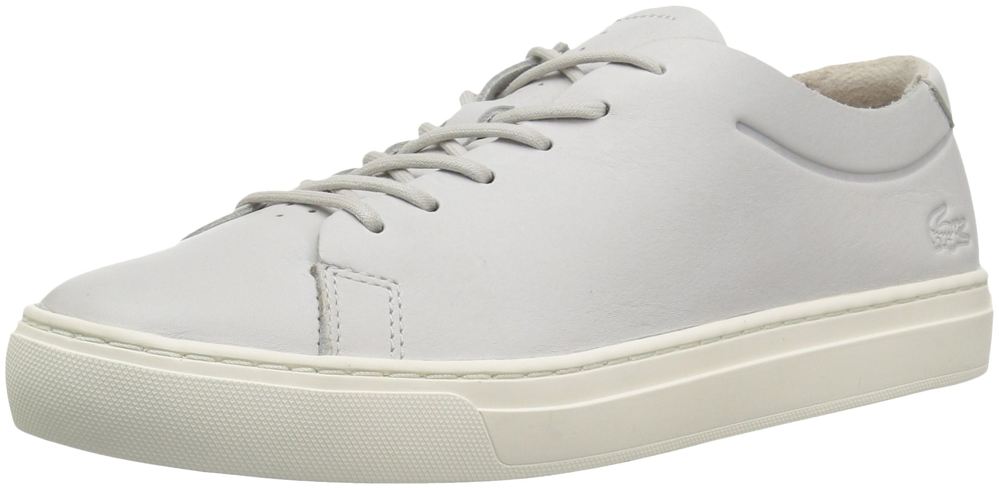 Lacoste Women's L.12.12 Unlined Sneakers,Light Grey/Off White Leather,5.5 M US