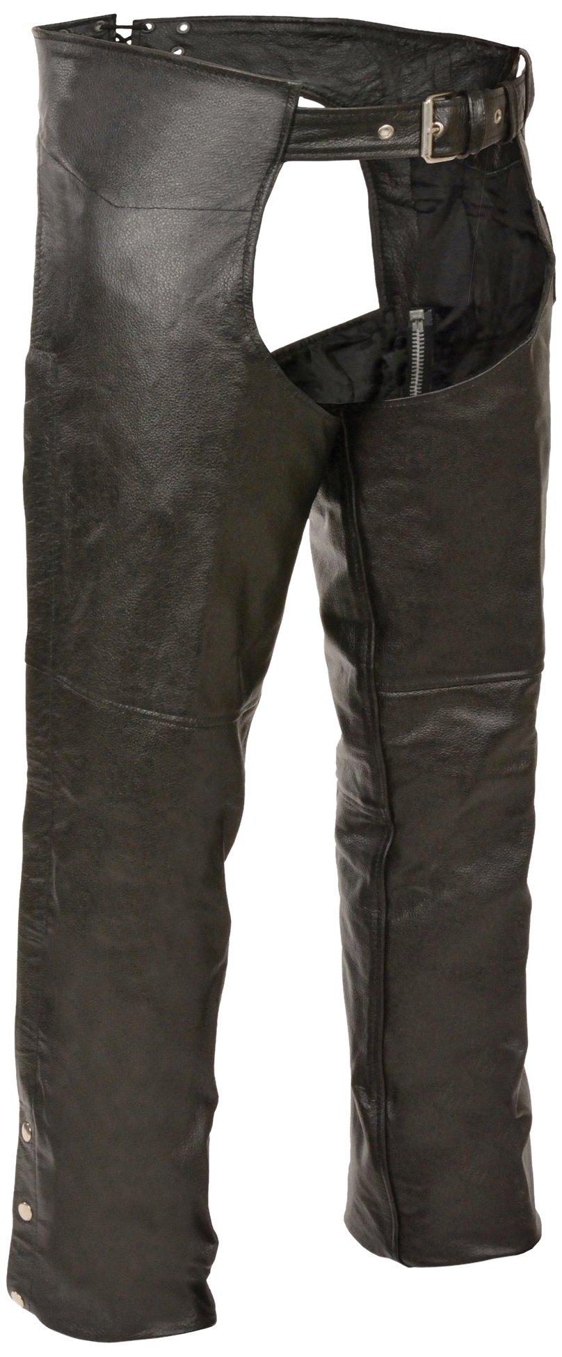 Event Biker Leather Basic Plain Lined Chaps (Black, 4X-Large)