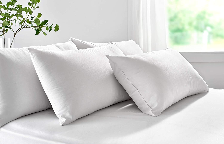 Pikolin Home - Almohada de fibra, antiácaros, funda 100% algodón, firmeza media, 40x90cm, altura 18cm (Todas las medidas)