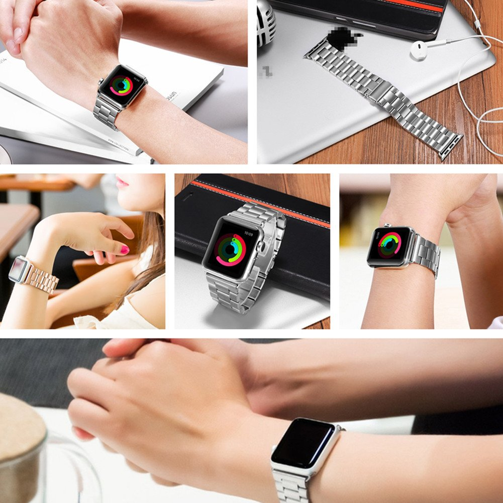Leefrei Stainless Steel Replacement Strap Watch Band for 42mm Apple Watch Series 3 Series 2 and Series 1 - Black by Leefrei (Image #7)
