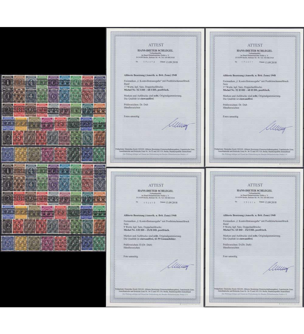Goldhahn Alliierte Besetzung Ziffer-Aufdruck Nr. 52-68 I+II   I-IX I+II DD postfrisch  mit Fotoattest Briefmarken für Sammler