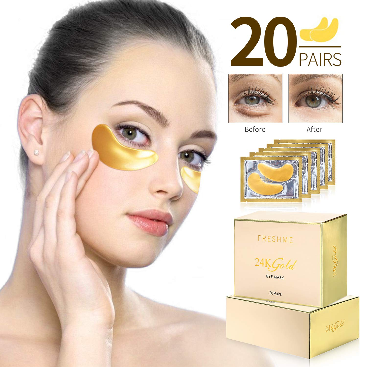 FRESHME Under Eye Mask - 20 Pairs Nano Gold Eye Pads Hyaluronan Eye Patches Treatment Masks with Rosa Rugosa Oil for Moisturizing Reducing Dark Circles Puffiness Wrinkles Gel Pad for Women & Men by FRESHME