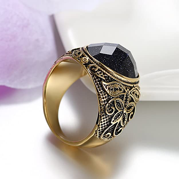 JewelryWe joyas anillo para hombre, lila arenisca Acero Inoxidable ...