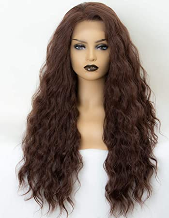 Amazon.com   Persephone Brown Lace Front Wigs Wavy Glueless Free Part Wavy  Synthetic Wig Soft Long Light Brown Wigs for Women 22 Inches Heat Resistant    ... ef64f3edd