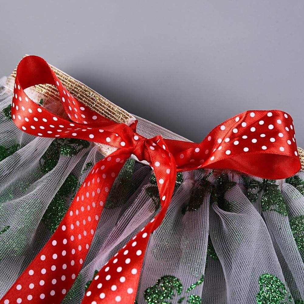 Oldeagle Kids Baby Girls Cute Christmas Princess Mesh Tutu Dress Ballet Tulle Mini Skirt+Hair Hoop Set Birthday Dress up