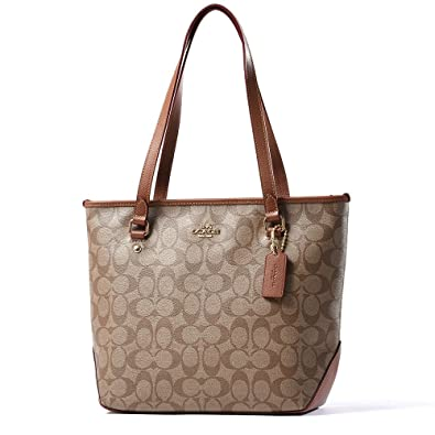 Amazon.com: Coach ZIP TOP Tote in Signature Canvas F34603 Khaki ...