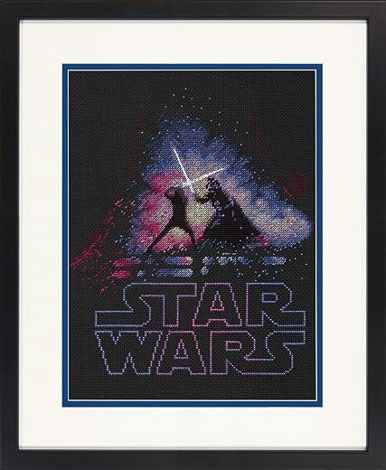 Dimensions Star Wars Luke Skywalker and Darth Vader Cross Stitch Kit Black...