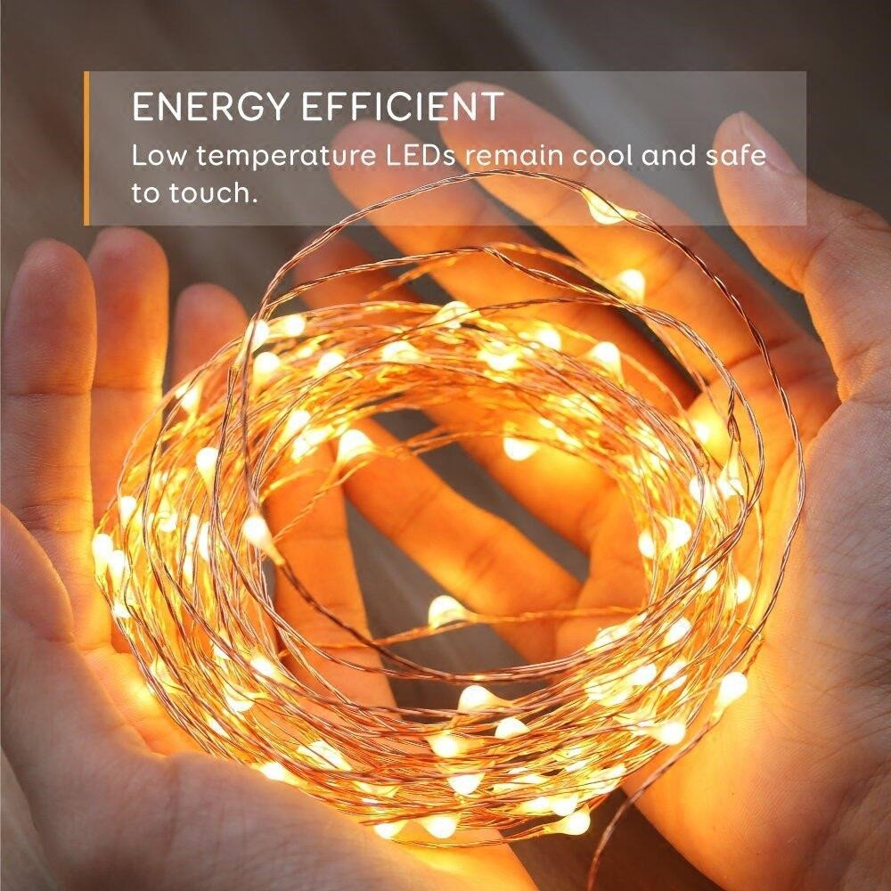 LED Battery String Lights with Remote Control,100 LED 33ft Waterproof Outdoor Lights, for Home Decor Indoor Copper Wire Warm Lights by Voneta (Image #4)
