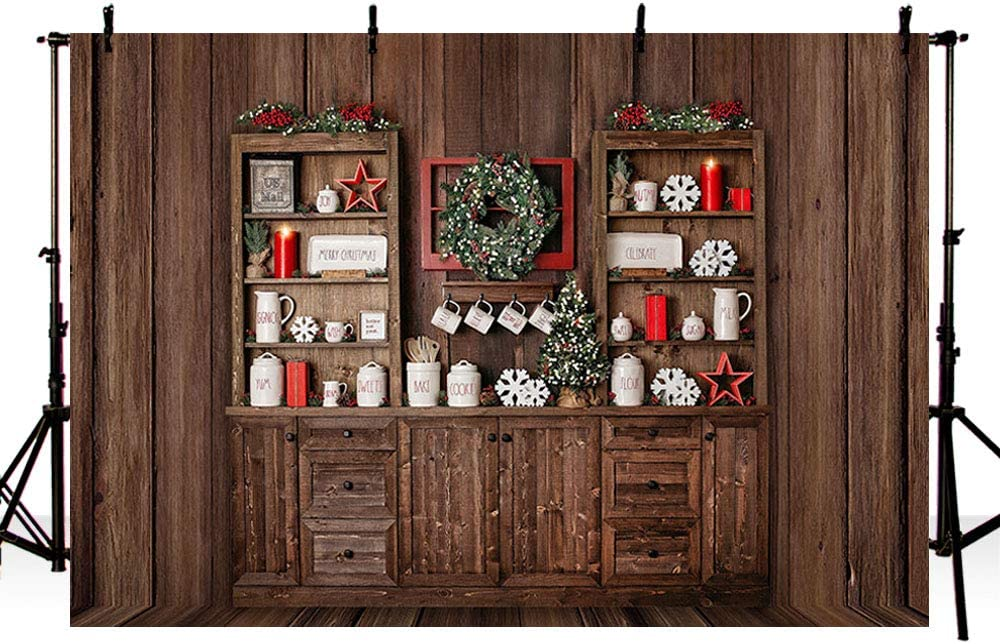 Merry Christmas Brown Wooden Board Backdrop