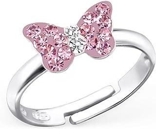 GH* KIDS, anello per bambine in vero argento 925 con farfalla di cristalli rosa, idea regalo, regolabile GH-1a BL-0914RW4