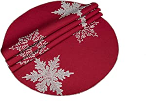 Xia Home Fashions XD17141 Glisten Snowflake Christmas Round Placemats, 16-Inch, Red, 4 Piece