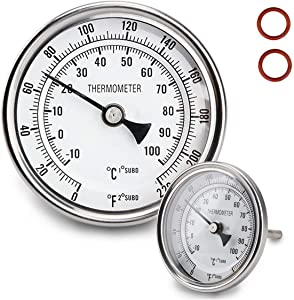 "Dial Thermometer 1/2 NPT Thread Pot Thermometer 304 SS Kettle Thermometer with Mounting Assembly for Brewing Beer (3"" Face)"
