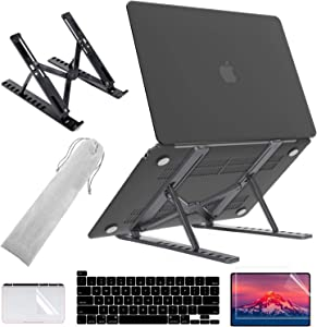 MacBook Pro M1 Case with Adjustable Laptop Stand, MacBook Pro 13 inch Case 2020 to 2016 Release A2338 A2289 A2251 Touch Bar, Plastic Hard Shell + Keyboard & Screen & TouchPad Protector, Black