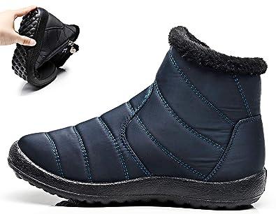 Flach Gefüttert Stiefel Schwarz Winterschuhe Hishoes Schuhe Warm Für Damen Wasserdicht Winter Boots Winterstiefel Kurzschaft Stiefeletten W2YEH9DI