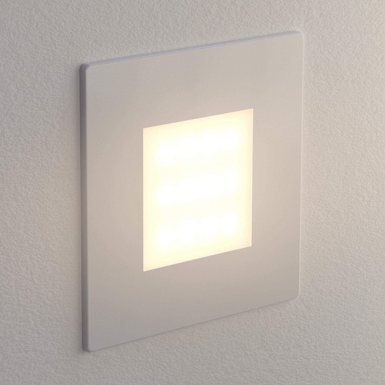 ledscom.de LED Treppen-Licht FEX Treppenbeleuchtung, eckig, 8,5x8,5cm, 230V, warmweiß, 4 STK. Weiß / Lichtfarbe: Warmweiß