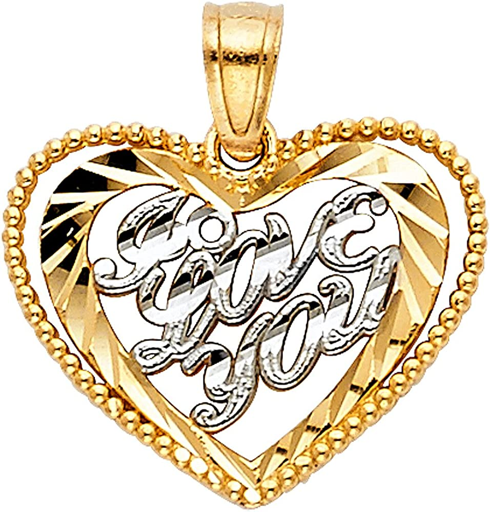 14K Two Tone Gold I Love You Heart Charm Pendant with 0.8mm Box Chain Necklace