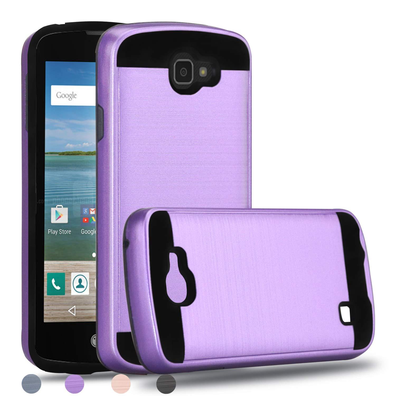 LG Optimus Zone 3 Case,LG VS425PP Case,LG Spree Case,LG K4 2016 Case,LG Rebel LTE Case,Wtiaw [TPU+PC Material] [Brushed Metal Texture] Hybrid Dual Layer Defender Case for LG K4-LS Purple
