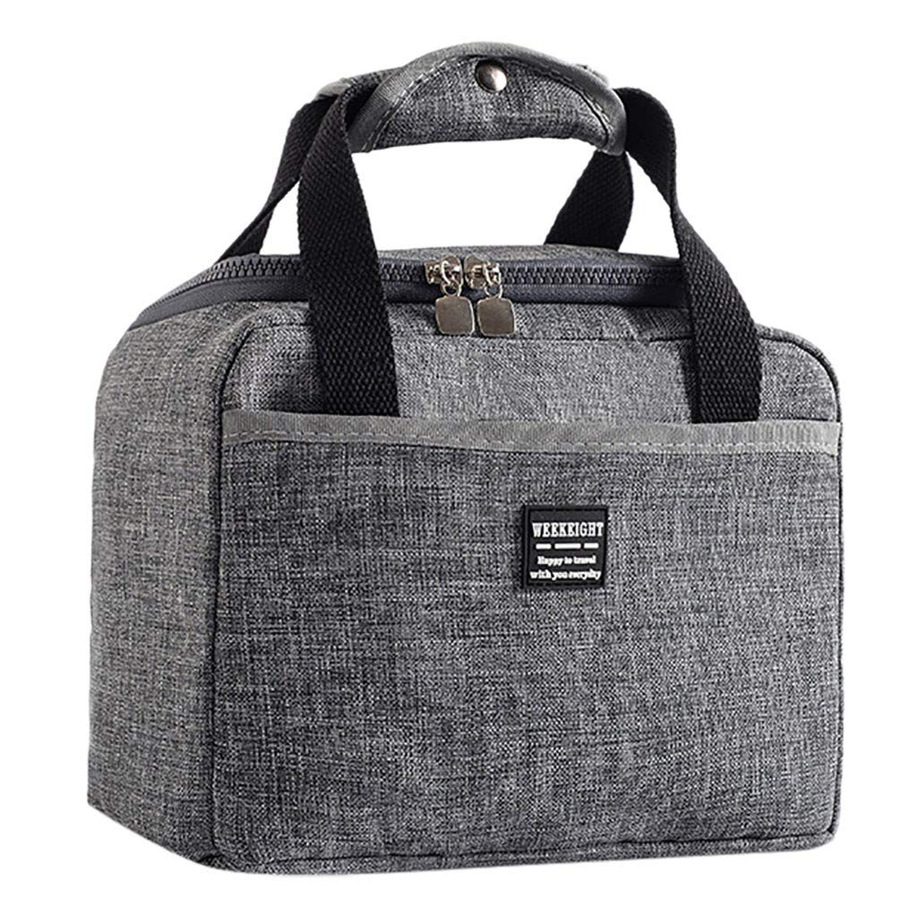 Lunch Bags for Women Insulated Lunchbox Tote Bag Food Cooler Box Adult Men (Gray, 24 X 14 X 17cm)