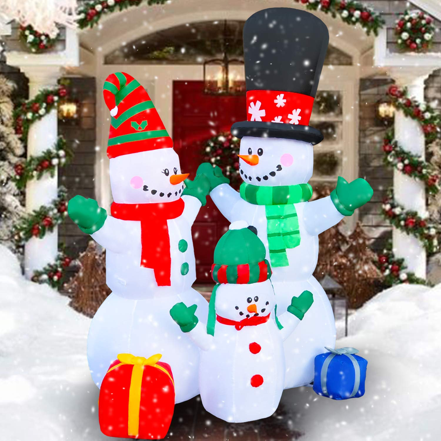 SEASONBLOW 6 Ft Inflatable Christmas Snowman Family Scence Decoration for Yard Lawn Garden Home Party Indoor Outdoor