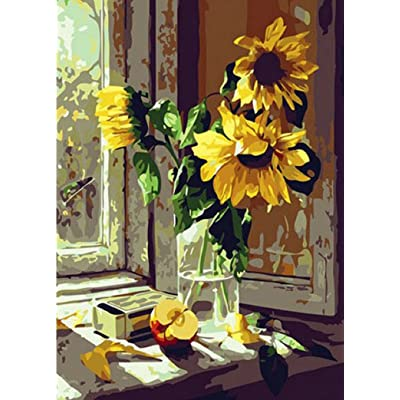 Greek Art Paintworks Paint Color By Number Kit, Window Sunflower, 16-Inch by 20-Inch