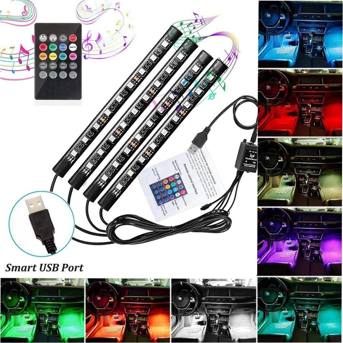Car LED Strip Lights 72 LED Car Interior Lights USB Atmosphere Neon Lights Underdash Lighting Kit Multicolor RGB with Music Sound Active Wireless Remote Control 5V- 72USB