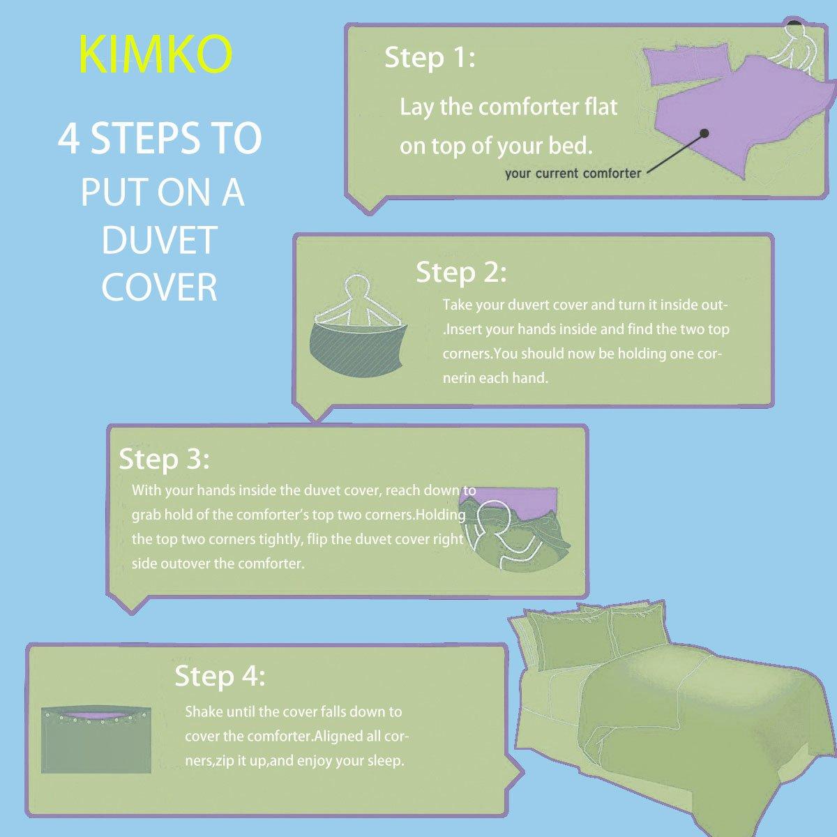 Kimko Kids Crown Bedding Set- Girls Reversible Crown of The Plaid Pattern Blue&White Cover -4Pcs -1 Duvet Cover Set + 1 Flat Sheet + 2 Pillowcases