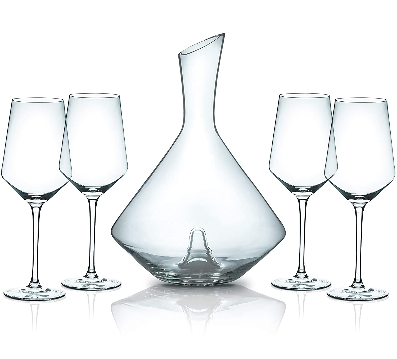 Hand Blown Lead Free Crystal Wine Decanter Set Sphere//Indent Miko Wine Decanter With 4 Wine Glasses