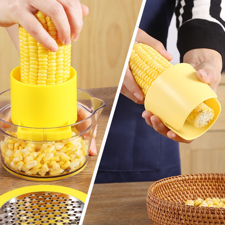 Houselog Corn Stripper,Corn Peeler Household Corn Thresher Stainless Steel Peeling Machine 4 in 1 Corn Shucker Tool + Kitchen Multifunctional Peeler (Gift)