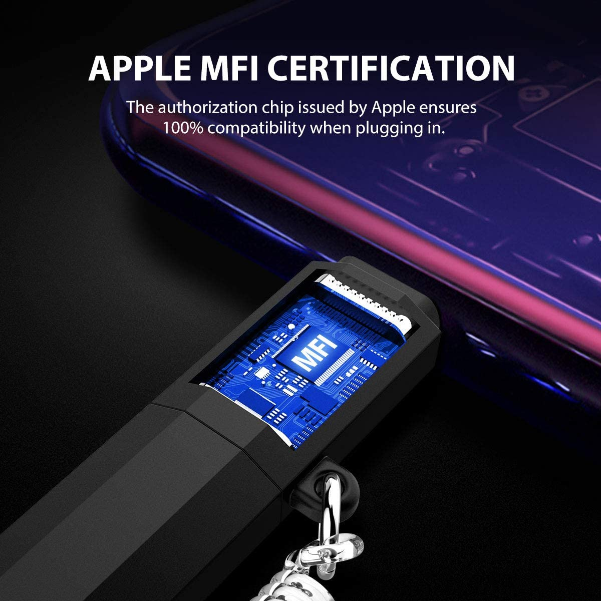 Apple MFi Certified Led iPhone Charger Cable, 2-in-1 Led Lightning Cable with 360 & Flowing Light ,3.3 ft (Purple)