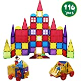 Romboss 116Pcs Magnetic Tiles Set Includes 2 Toy People 2 Cars STEM 3D Magnets Building Blocks Preschool Educational Construction Toys for Toddler&Kids