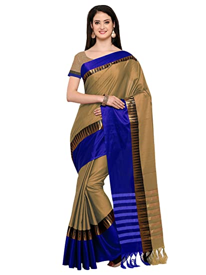 ecbbbf79d Mrinalika Fashion Women s Cotton Silk Saree with Blouse Piece (Beige ...