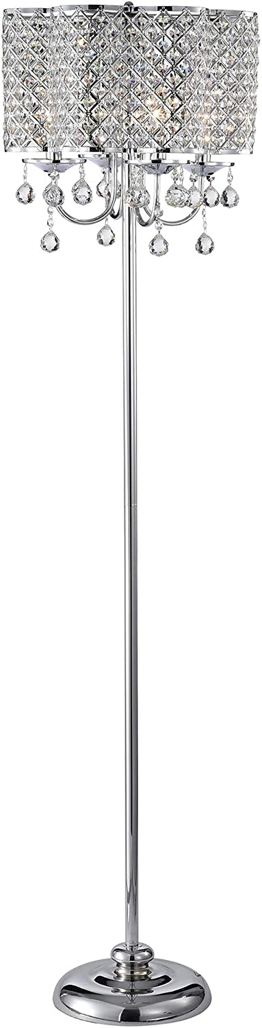 Warehouse of Tiffany IMF482/4 Ernest Chrome 4-Light Crystal Drum Shade Floor Lamp, Silver