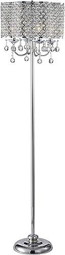Warehouse of Tiffany IMF482/4 Ernest Chrome 4-Light Crystal Drum Shade Floor Lamp