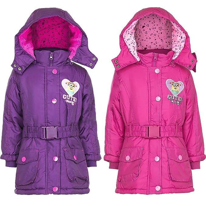 Minion - Abrigo - Parka - para niña rosa Fushcia 3 años