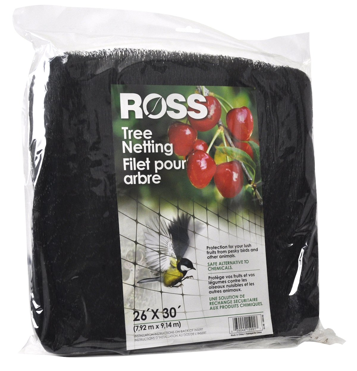Ross Tree Netting (Use as Bird Netting to Protect Trees from Birds and Other Small Animals) UV-protected Black Plastic Mesh, 26 feet x 30 feet