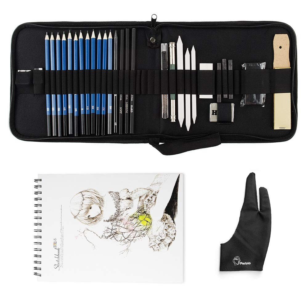 32 Pieces Art Supplies Sketch Tool Set with Graphite Pencils, Pastel Pencils, Paper Erasable Pen and Zippered Carry Case-Lightwish (32 Pieces, with Sketchbook) by Lightwish