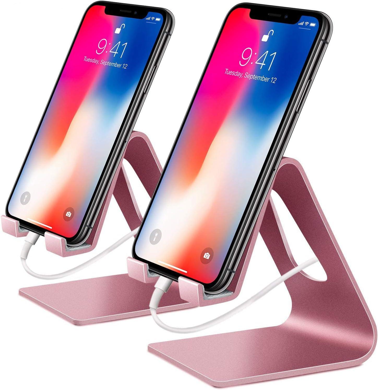 OMOTON Support Multi-Angles R/églable en Alliage d/'Aluminium Noir Support T/él/éphone Portable pour iPhone Se// 7 Plus// 7//6 Plus// 6S// Samsung Galaxy Note 8// Samsung Galaxy S8// S8 Plus//Honor 9