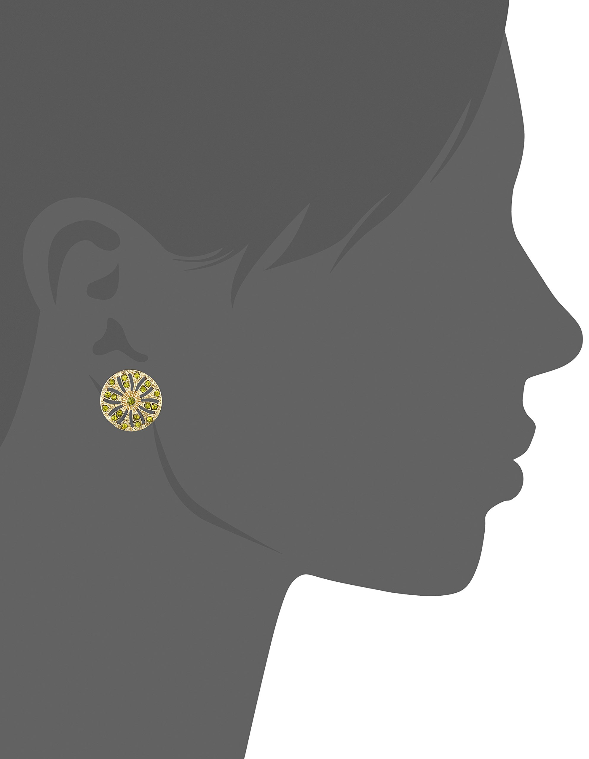 1928 Jewelry Gold-Tone Olivine Green Disk Button Stud Earrings by 1928 Jewelry (Image #2)