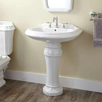 Naiture Porcelain Pedestal Sink With Oil Rubbed Bronze Finish Pop Up  Bathroom Drain   1
