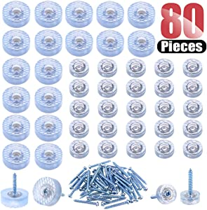 Hilitchi 80 Pcs [2-Size] Transparent Round Rubber Feet Bumpers Pads with Matching Screws with Built in Stainless Steel Washer for Cutting Board Table Desk Chair Sofa and more (40pcs Feet 40pcs Screws)