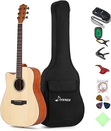 Donner Left Handed Acoustic Guitar Cutaway DAG-1CL 41 inch