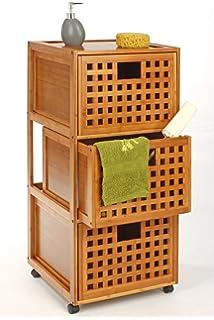 Serie KOH Lanta 1 Einlegeboden 3 Einlegeb/öden exotische Optik Tendance Badezimmerm/öbel 1 T/ür Bambus