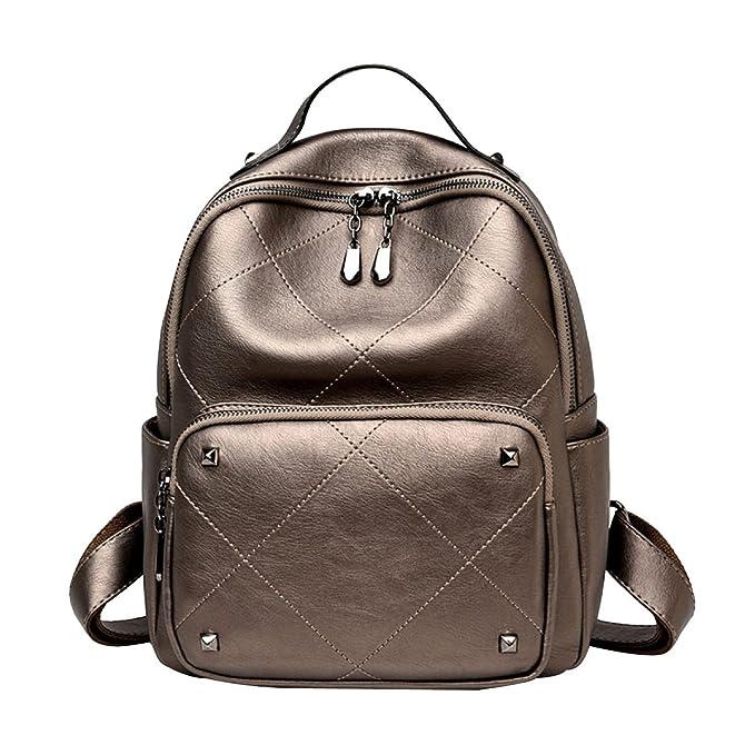 Damen Leder Schultertasche Students Bag,Grey-OneSize ADEFG