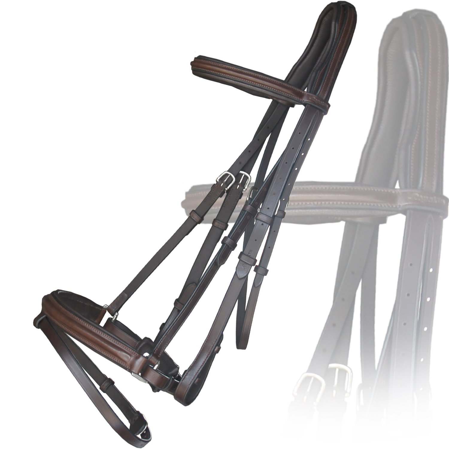 Havana (Choco Brown) Small (Pony)Exion Anti Pressure Cut Head Piece Dressage Leather Bridle with PP Rubber Grip Reins and Stainless Steel Buckles   Equestrian Show Jumping Padded Bridle Set   Oak Brown   Over