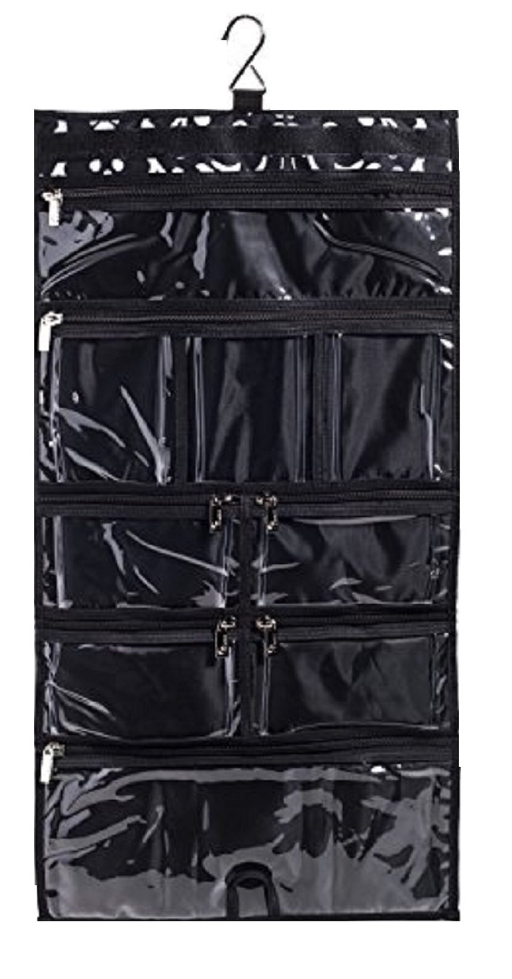 Hanging Travel Organizer, 9 Large Clear Zipper Pockets for Makeup, Toiletry, Cosmetics, Underwear, Jewelry, Lingerie Holder Bag for Women - Closet, Wall or Door (Paisley)